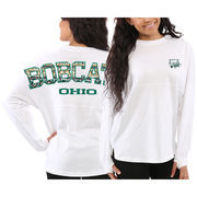 Women's Ohio Bobcats White Aztec Sweeper Long Sleeve Oversized Top