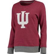 Women's Crimson Indiana Hoosiers Team Essentials Horizon Clean Color Heathered Crew Neck Tri-Blend Sweatshirt
