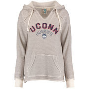 Women's Blue 84 Cream UConn Huskies Striped French Terry V-Neck Pullover Hoodie