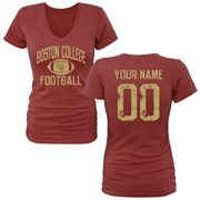 Women's Cardinal Boston College Eagles Personalized Distressed Football Tri-Blend V-Neck T-Shirt