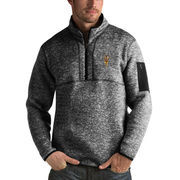 Men's Antigua Heathered Black Arizona State Sun Devils Fortune 1/2-Zip Pullover Sweater