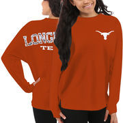 Women's Texas Longhorns Orange Aztec Sweeper Long Sleeve Oversized Top