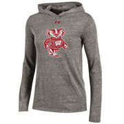 Women's Under Armour Gray Wisconsin Badgers Space Tri-Blend Pullover Hoodie