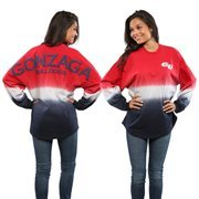 Women's Red Gonzaga Bulldogs Ombre Long Sleeve Dip-Dyed Spirit Jersey