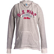 Women's Blue 84 Cream Ole Miss Rebels Striped French Terry V-Neck Pullover Hoodie