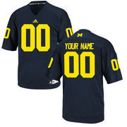 adidas Men's Navy Blue Michigan Wolverines Custom Replica Football Jersey