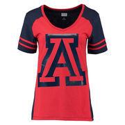 Women's Navy Arizona Wildcats Presidio V-Neck T-Shirt