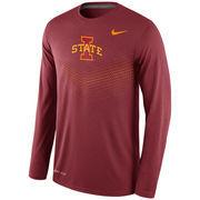 Men's Nike Cardinal Iowa State Cyclones 2015 Sideline Dri-FIT Legend Long Sleeve Performance T-Shirt