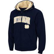Men's Stadium Athletic Navy Notre Dame Fighting Irish Arch & Logo Full Zip Hoodie