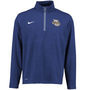 Men's Nike Navy Marquette Golden Eagles Football Coaches Sideline Half-Zip Tri-Blend Performance Knit Top