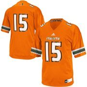Men's adidas No. 15 Orange Miami Hurricanes Replica Football Jersey