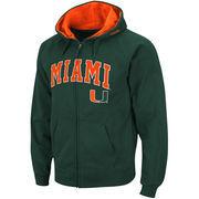Men's Stadium Athletic Green Miami Hurricanes Arch & Logo Full Zip Hoodie