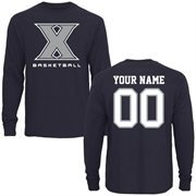 Xavier Musketeers Personalized Basketball Long Sleeve T-Shirt - Navy Blue