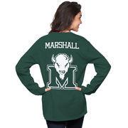 Women's Green Marshall Thundering Herd The Big Shirt Oversized Long Sleeve T-Shirt