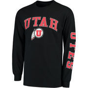Men's Fanatics Branded Black Utah Utes Distressed Arch Over Logo Long Sleeve Hit T-Shirt