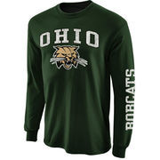 Mens Ohio Bobcats Green Arch & Logo Long Sleeve T-Shirt