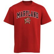 Men's New Agenda Red Maryland Terrapins Arch Over Logo T-Shirt