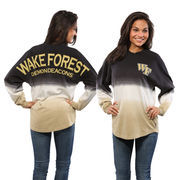 Women's Black Wake Forest Demon Deacons Ombre Long Sleeve Dip-Dyed Spirit Jersey
