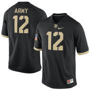Men's Nike #12 Black Army Black Knights Replica Game Football Jersey
