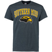 Men's New Agenda Charcoal Southern Miss Golden Eagles Mid-Size Arch Over Logo T-Shirt