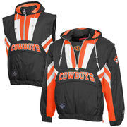 Oklahoma State Cowboys Captain Half-Zip Hooded Jacket - Black