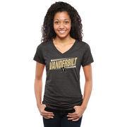 Women's Black Vanderbilt Commodores Double Bar Tri-Blend V-Neck T-Shirt