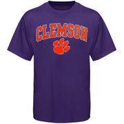 Mens Purple Clemson Tigers Arch Over Logo T-Shirt