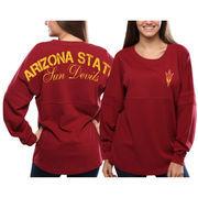 Women's Arizona State Sun Devils Red Pom Pom Jersey Oversized Long Sleeve T-Shirt