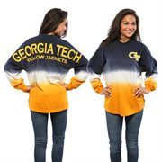 Women's Navy GA Tech Yellow Jackets Ombre Long Sleeve Dip-Dyed Spirit Jersey
