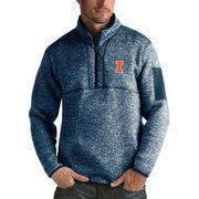 Men's Antigua Heathered Navy Illinois Fighting Illini Fortune 1/2-Zip Pullover Sweater