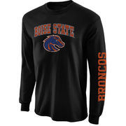 Men's New Agenda Black Boise State Broncos Distressed Arch & Logo Long Sleeve T-Shirt