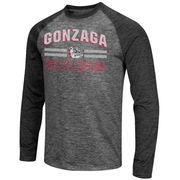 Men's Colosseum Charcoal/Heathered Black Gonzaga Bulldogs Raven Long Sleeve Raglan T-Shirt