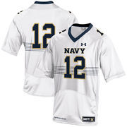 Youth Under Armour #12 White Navy Midshipmen Replica Football Jersey