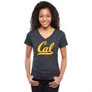 Cal Bears Womens Classic Primary Tri-Blend V-Neck T-Shirt - Navy Blue