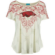 Women's Arkansas Razorbacks Cream Victorian Print Dolman Tunic