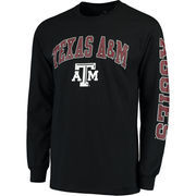 Men's Fanatics Branded Black Texas A&M Aggies Distressed Arch Over Logo Long Sleeve Hit T-Shirt