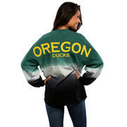 Women's Green Oregon Ducks Ombre Long Sleeve Dip-Dyed Spirit Jersey