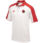 Men's adidas White/Red Louisville Cardinals 2016 Football Coaches Sideline climalite Polo