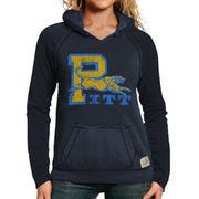 Original Retro Brand Pitt Panthers Women's Two-Toned V-Neck Hooded Sweatshirt - Navy Blue