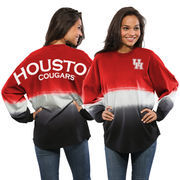 Women's Red/White Houston Cougars Ombre Spirit Jersey Long Sleeve T-Shirt