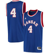 Men's adidas 4 Royal Kansas Jayhawks Hardwood Event Jersey