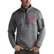 Men's Antigua Heathered Charcoal Nebraska Cornhuskers Fortune 1/2-Zip Pullover Sweater