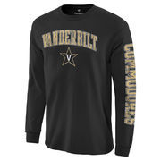 Men's Black Vanderbilt Commodores Distressed Arch Over Logo Long Sleeve Hit T-Shirt