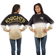 Women's Black UCF Knights Ombre Long Sleeve Dip-Dyed Spirit Jersey