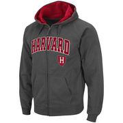 Men's Stadium Athletic Charcoal Harvard Crimson Arch & Logo Full Zip Hoodie