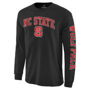 Men's Black NC State Wolfpack Distressed Arch Over Logo Long Sleeve Hit T-Shirt