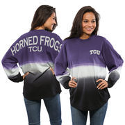 Women's Purple TCU Horned Frogs Ombre Long Sleeve Dip-Dyed Spirit Jersey