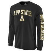 Men's Fanatics Branded Black Appalachian State Mountaineers Distressed Arch Over Logo Long Sleeve Hit T-Shirt