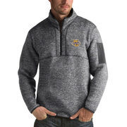 Men's Antigua Heathered Charcoal Marquette Golden Eagles Fortune 1/2-Zip Pullover Sweater