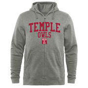 Men's Heathered Gray Temple Owls Arched School Name & Mascot Full-Zip Hoodie